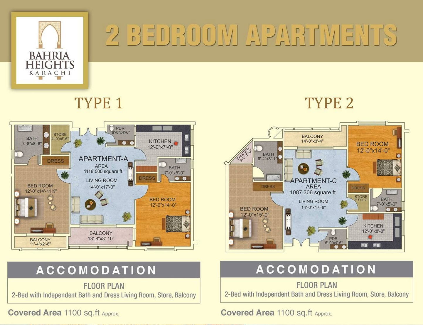 Floor Plan Of 2 Bedroom Apartments Bahria Heights